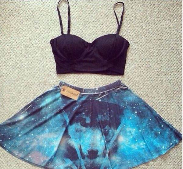 skirt black black crop top blue skirt wolf wolf print galaxy print cute skirt fashion