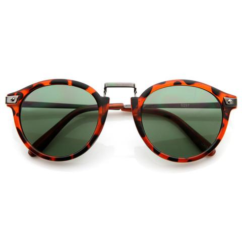 Vintage Inspired Round Wayfarer Frame Sunglasses 8591                             zeroUV