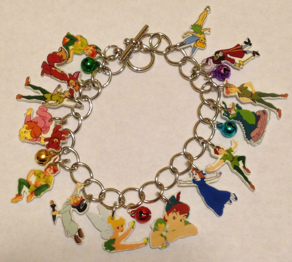 Peter Pan Tinkerbell Charm Bracelet Captain Hook Lost Boy Wendy John More Cute | eBay