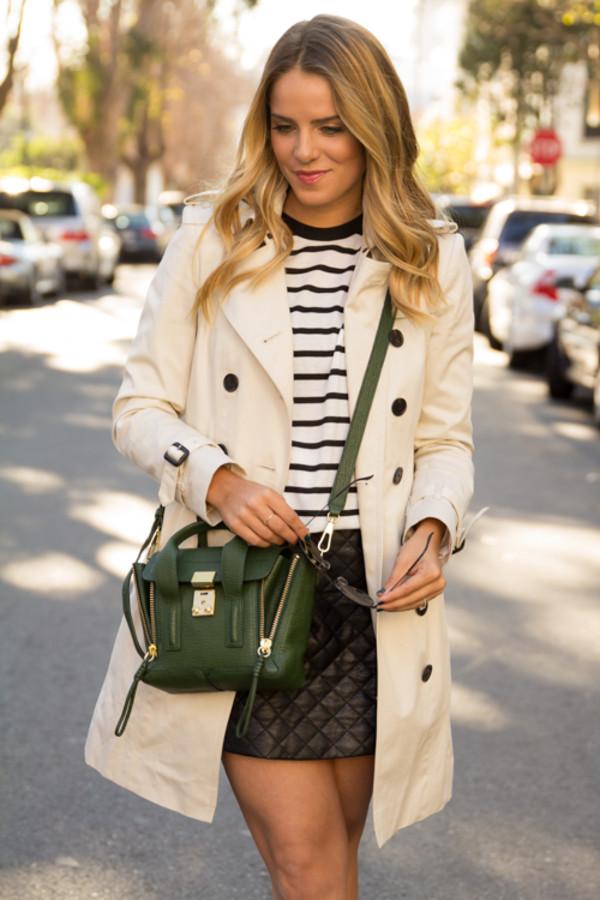 gal meets glam coat t-shirt skirt shoes bag