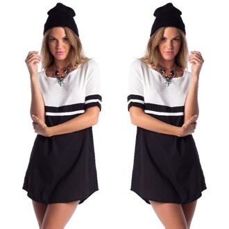dress jewels hat shift black & white dress