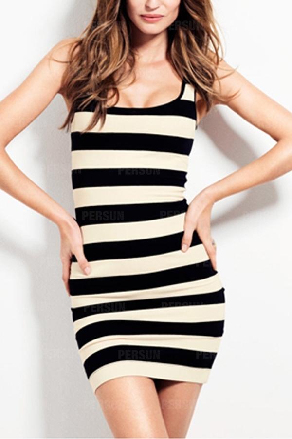 Casual Stripped Cotton Dress in Black [FXBI00500] - PersunMall.com