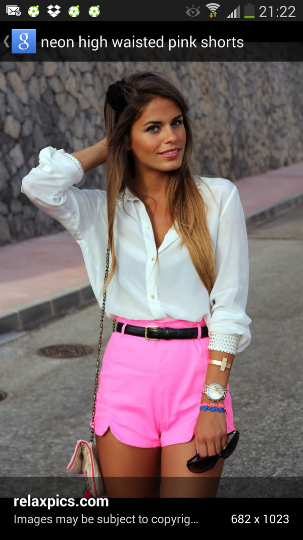 shorts neon pink shorts blouse jewels