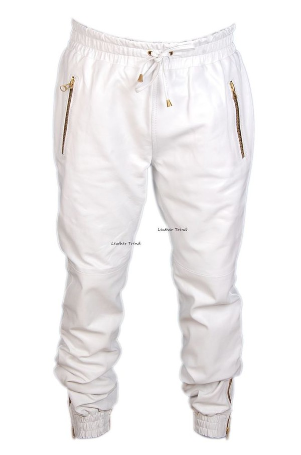 little gold joggers pants white swag