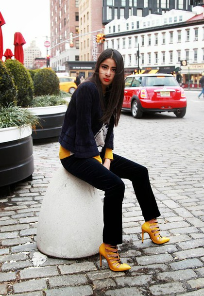 chicmuse blogger pointed toe mustard jacket sweater pants shoes flare velvet pants