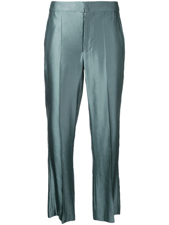 metallic women green pants