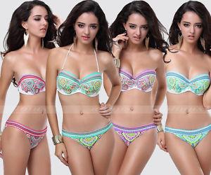 Women's Swimwear Swimsuit Sexy Padded Bra Bikini Beachwear Tops Bottom s M L   eBay