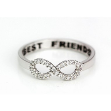 Silver Crystal Best Friend Infinity Ring