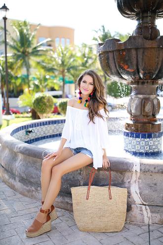 southern curls and pearls blogger top shorts bag shoes jewels make-up wedge sandals raffia bag off the shoulder top denim shorts