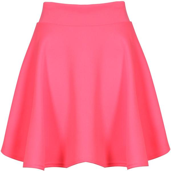 Neon Pink Scuba Skater Skirt - Polyvore