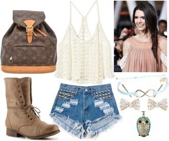 shoes boots owl bow lace shorts louis vuitton clothes blouse bag