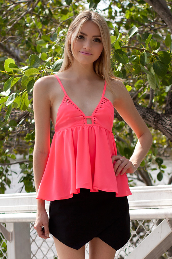 blouse pink hot pink top cute cut-out flare neon babydoll top shorts skorts black skorts black