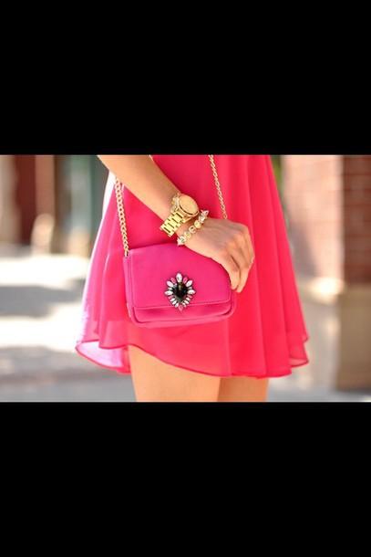 bag purse pink gold small jewels handbag