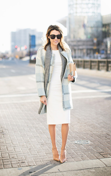 hello fashion blogger scarf light blue winter coat pencil dress nude high heels