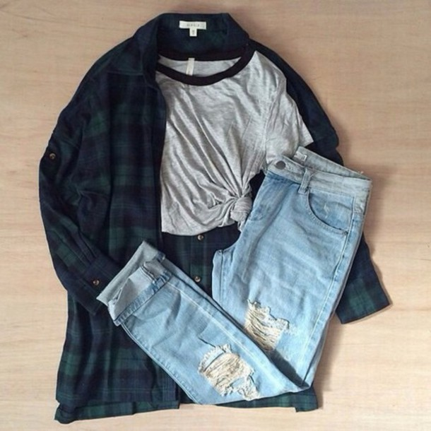 pants blouse flannel shirt cardigan jacket flannel green grunge fall outfits autumn/winter tumblr tumblr girl grey t-shirt instagram outfit outfit idea aesthetic pretty jeans