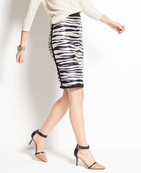 Zebra Jacquard Pencil Skirt   Ann Taylor