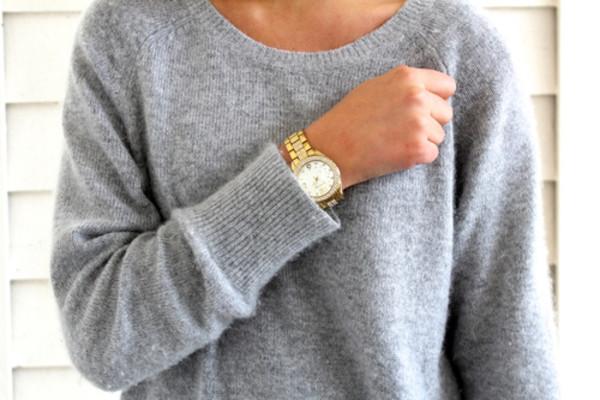 t-shirt jumper sweater sweatshirt grey grey gold watch jewelry grey t-shirt
