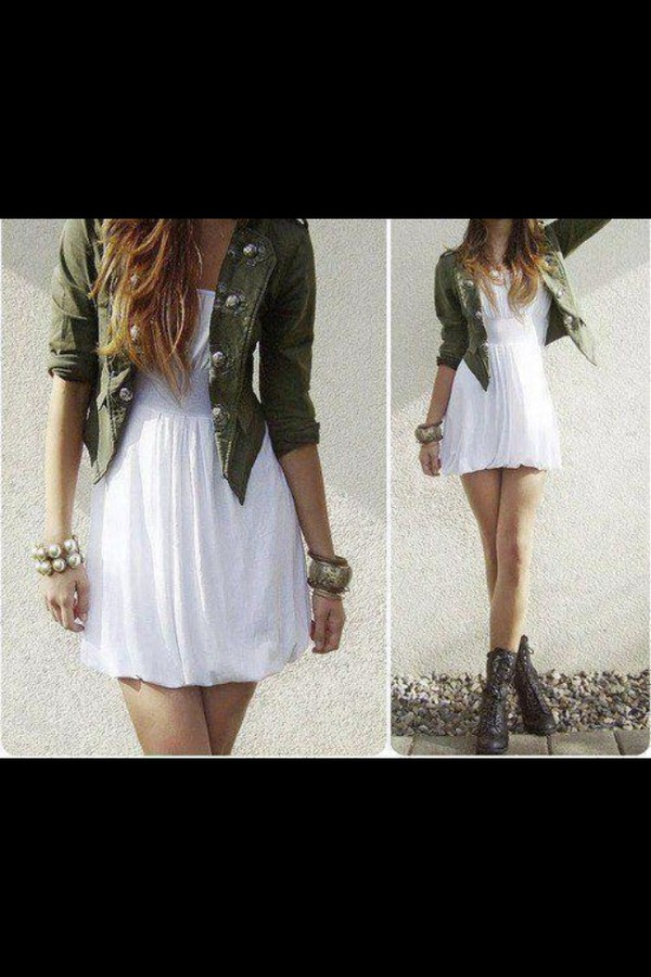 dress white dress jacket summer shoes white green green jacket sweater camouflage cropped jacket khaki chiffon dress flowy dress skirt girly bronze green jacket boots combat boots necklace blazer swea army green navy green swag blouse coat short length military style fur cargo pants outerwear perfect denim jacket cute kakhi army jacket wonderful beautiful white skater dress colorful cool amazing army green jacket jewels army green jacket flowy stylish cardigan earrings bracelets fashion style hipster summer dress buttons black boots button up jacket fitted jacket robe blanche voile veste kaki army green jacket summer outfits white dress and army jacket indie dress hipster dress cute dress is touched tumblr outfit short dress casual dress outfit