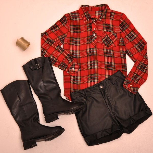 shirt romwe red boyfriend check shirt black shorts black shoes