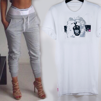 t-shirt white tshirt lion lion tshirt white lion tshirt 14 pink 14 light grey pant loose look rolled sleeves roll-up sweatpants sexy casual crewneck loose underwear dope streetwear pants