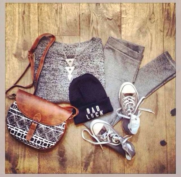 bag hat sweater pants