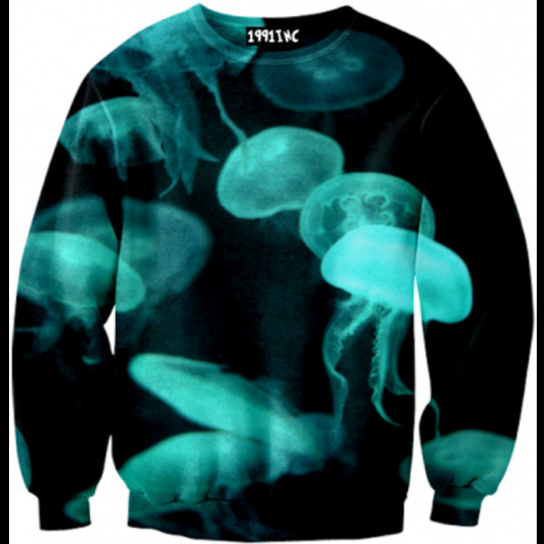 sweater black blue cyan green