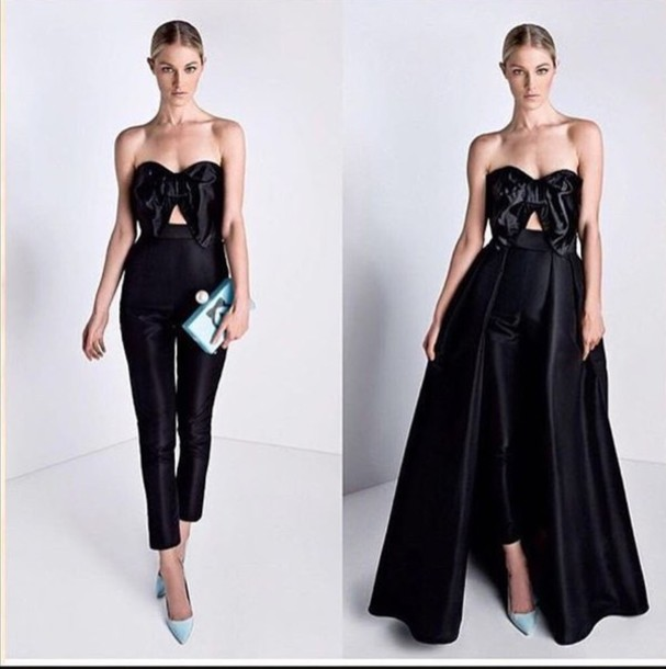Dress Black Y Jumpsuit Elegant Wedding Jumpsuitdress Long Dresses