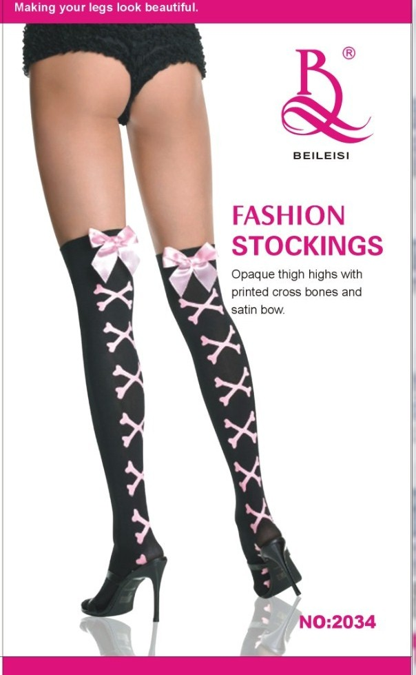 Crossbones with Pink P Bow Over The Knee Sock   eBay