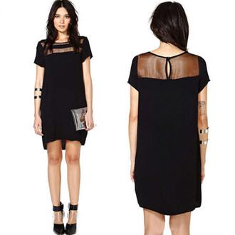 dress black dress mesh mesh dress mesh cheat mesh chest mesh cheast dress summer dress short dress short sleeved