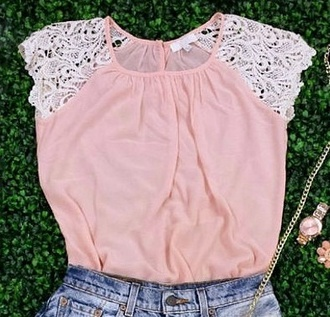 blouse girl grass girly baby pink wrinkled