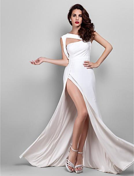 dress slit dress white dress one shoulder