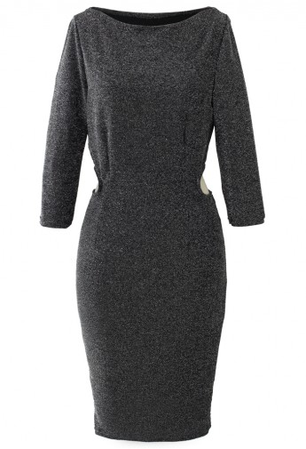 Metallic Detail Silver Cut Out Dress - Retro, Indie and Unique Fashion