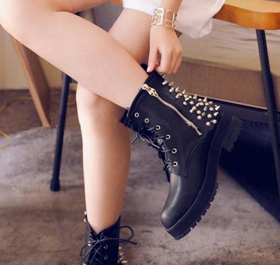 fashion ankle boots for women shoes woman 2013 ladies martin booties party rivets black punk spikes lace up winter SW36042-in Boots from Shoes on Aliexpress.com