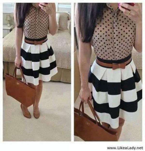 skirt nice skirt belt black white strips