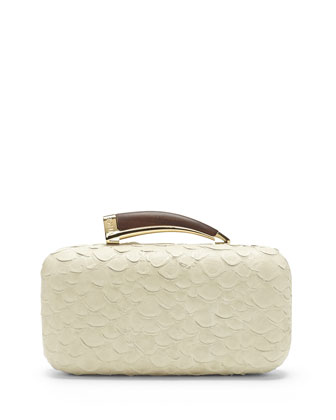 VC Signature Snake-Embossed Leather Horn Clutch, Vanilla