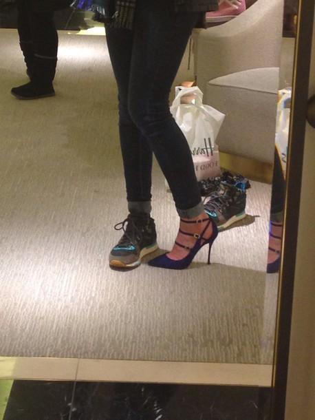shoes high heels royal blue