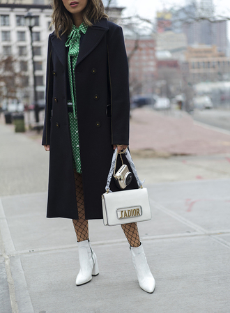 song of style blogger dress sweater jacket coat sunglasses shoes bag green dress white bag dior bag navy coat white boots