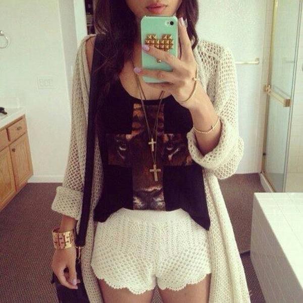 t-shirt shorts sweater