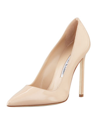 Manolo Blahnik BB Patent 115mm Pump, Nude (Made to Order)