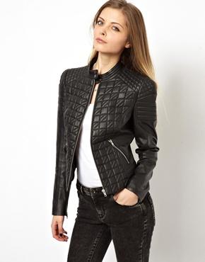 ASOS | ASOS Leather Jacket in Quilt Structured Shoulder at ASOS