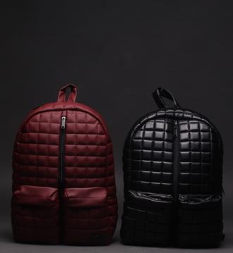 bag backpack quiltrdback black leather bag streetoutfit marsala leatherblack