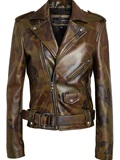 Pyer Moss Camouflage Leather Biker Jacket - Browns - Farfetch.com