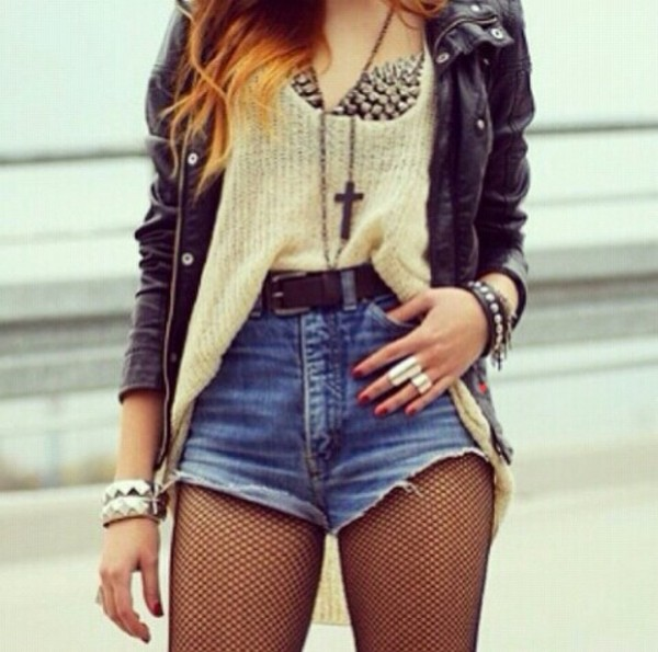 shorts clothes studs sweater underwear jacket top t-shirt spiked bustier romper belt tights jewels