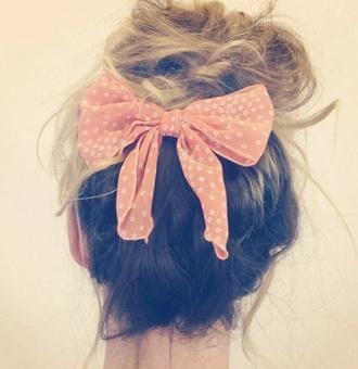 hat hair bow pink cute bun the girl with the messy hair hair accessory polka dots