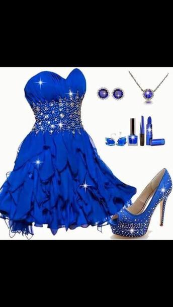 dress blue dress sparkly dress strapless heart shape on top short evening outfits shoes