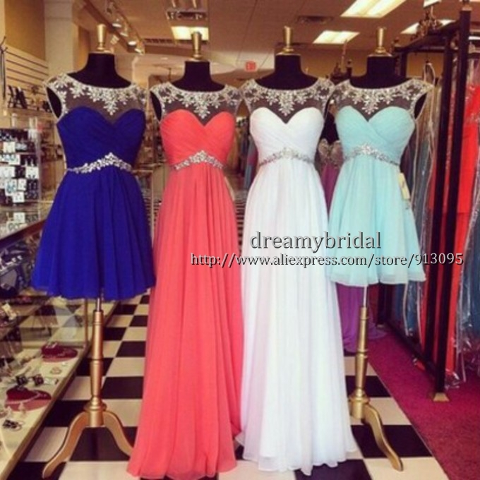 Aliexpress.com : Buy Real sample! Latest Stunning Jeweled Rhinestone Bead Sweetheart Illusion Sexy Short Chiffon Blue Prom Dresses 2014 Evening Dress from Reliable dress chair suppliers on Suzhou dreamybridal Co.,LTD