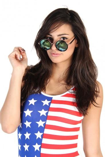 LoveMelrose.com From Harry & Molly | Round Mirror Sunglasses - Blue