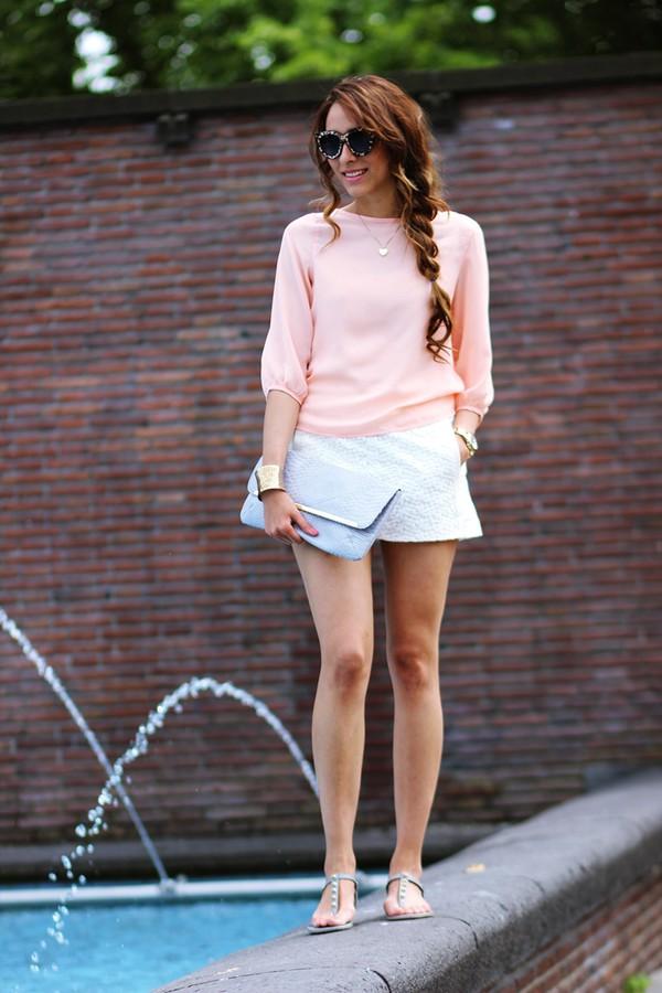 preppy fashionist sunglasses blouse bag shoes jewels
