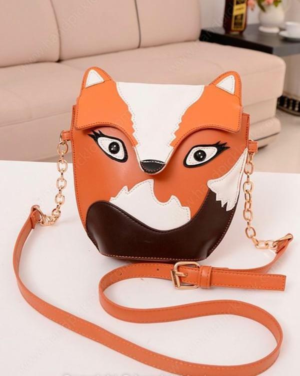 bag fox fox bag handbag shoulder bag orange clutch