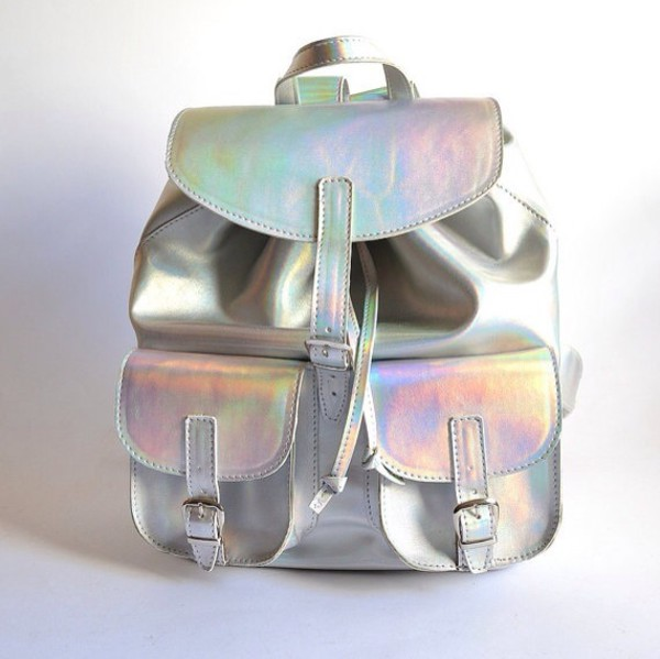 bag backpack silver glimmer holographic holographic style funny sac a main